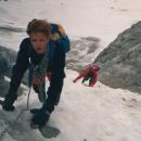 Ice gulley, Mont Blanc range, 1988