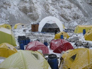 Arrival at our Everest Base Camp on a snowy and windy afternoon - the view from my tent