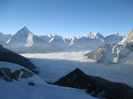From the early part of the climb soon after dawn, Ama Dablam rising to the left