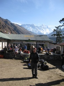 Me in front of the Tengboche bakery with Everest behind