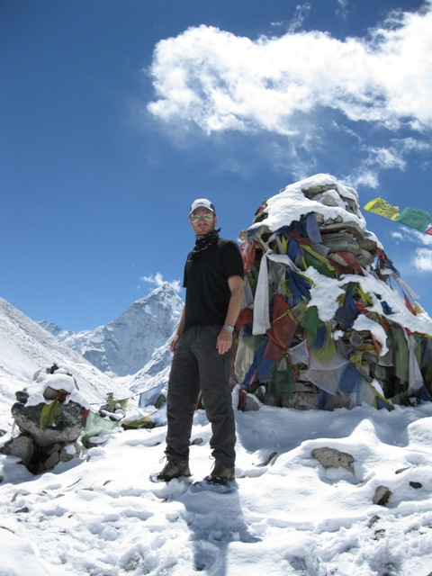 Me at the Sherpa chorten memorial with Ama Dablam behind