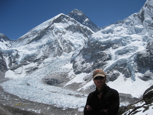 Me at the summit of our own private Kalar Pattar with Everest behind