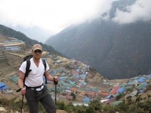 Me on my way out of Namche as the clouds roll-in