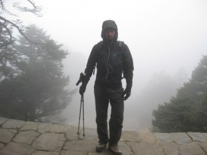 Me on the steps of the Everest View Hotel in the mist