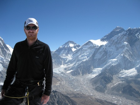 Me on the summit of Lobuche Peak with Everest behind