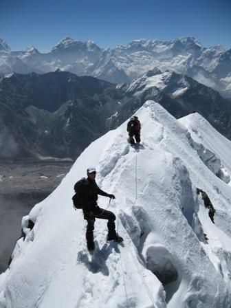 Me on the summit ridge, descending