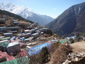 Namche Bazar looking down valley towards Phakding and Lukla