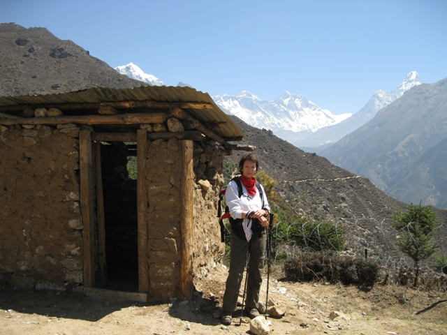 Our first glimpse of Everest this morning: the tiny peak directly above my mother's head. On the right is Ama Dablam