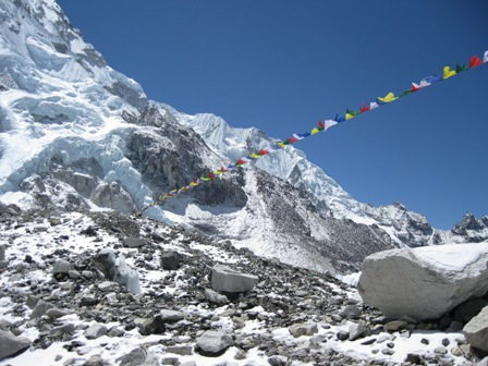 Prayer flags stretch to the edge of Base Camp