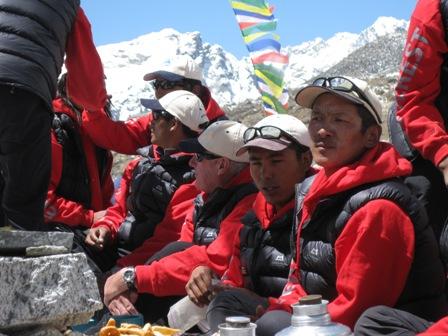 Russell Brice, the Lama, and Sirdar Phurba Tashi at the Puja