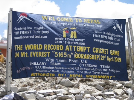 'The 'Everest Test 2009' banner - they will hold their world record for 7 days...
