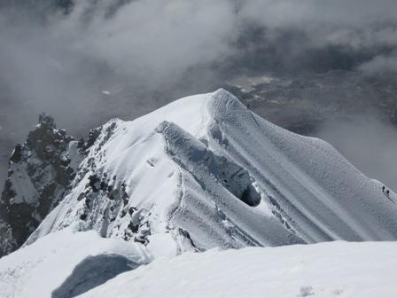 The false summit and start of the summit ridge