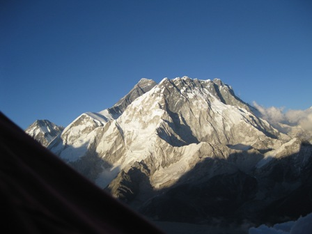 The view from the back flap of our tent - the Everest massif