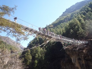 Dramatic suspension bridge during the trek to Namche Bazar