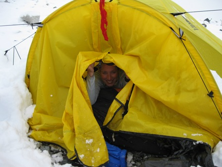 Alix in our tent after the snowfall