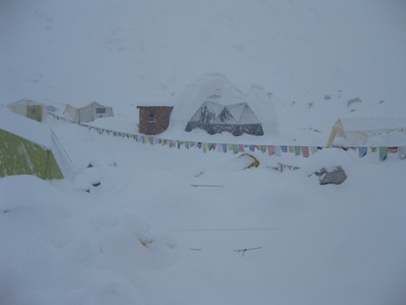 Base Camp buried in the snow on Tuesday morning during the the storm - note there are about 10 tents completely buried in the foreground
