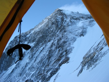 Everest summit pyramid from my tent at Camp 3