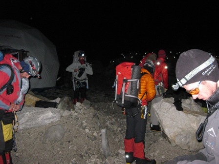 Leaving crampon point at 3am for the Icefall