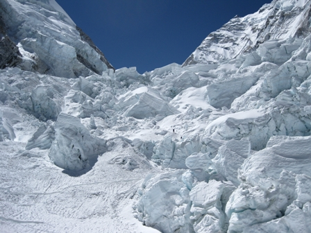 Looking up the Icefall - note climber in the middle