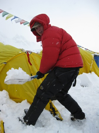 Me digging out our tent