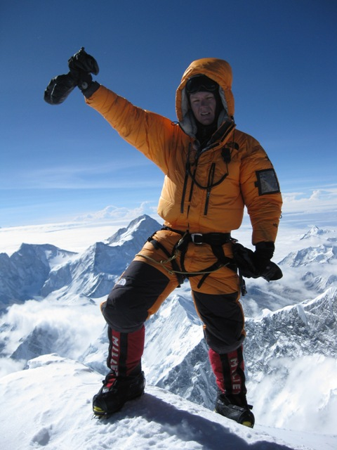 Me stepping onto the summit of Everest, with Makalu the world's fifth highest mountain in the background