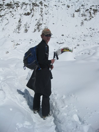 Me walking out of Base Camp for the last time yesterday morning
