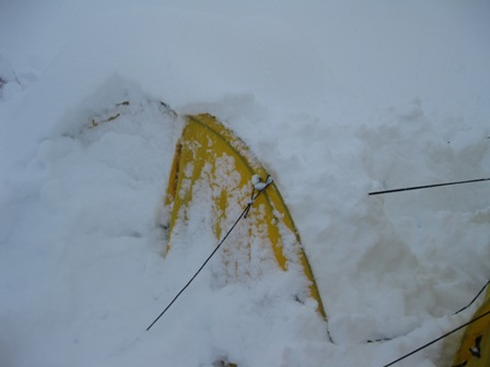 Our tent partially dug out during the storm