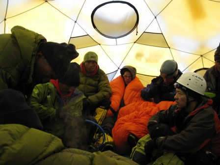 The 'huddle' inside the tent at Camp 1