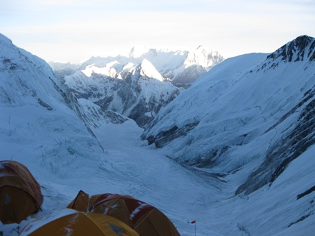 The view from Camp 3 with Cho Oyu in the distance
