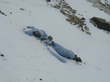 A body lies right beside the route, just above the South Col - 21 May