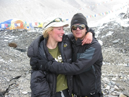 Alix meeting me at crampon point as I left the Icefall for the last time - off the mountain and safe at last - 23 May