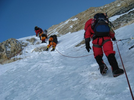 Climbing the Yellow Band at 7,800 meters between Camps 3 and 4 - 20 May