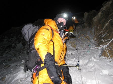 Climbing up the steepening slopes above the South Col in the pitch darkness -12.30am, 21 May