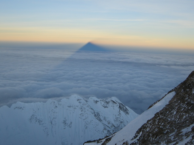 Everest casts its shadow over Nepal shortly after dawn from just below the South Summit - 21 May