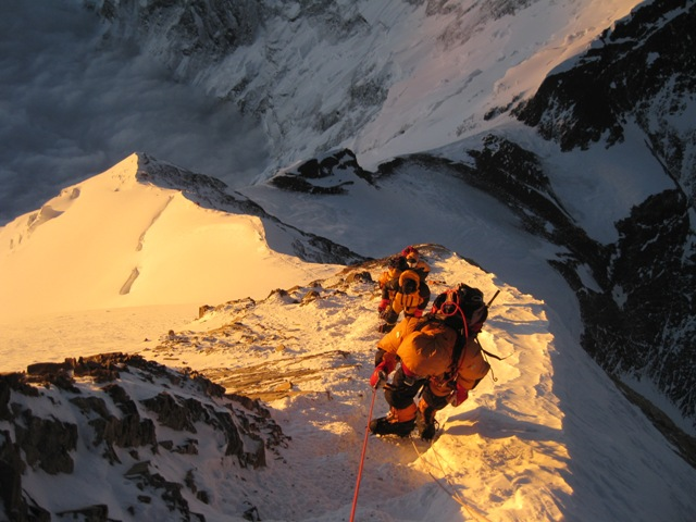 Looking down the South East Ridge at dawn - below right is the South Col and top right Camp 4 - 21 May