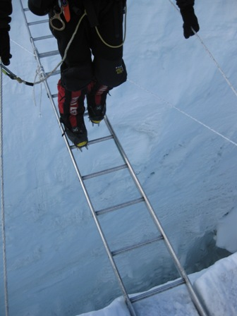 Me crossing a deep crevasse on the way to Camp 2 - 17 May