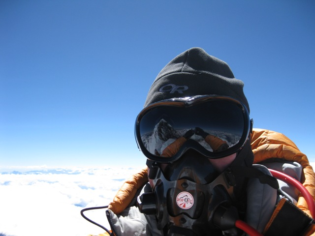 Self portrait on the South Summit on the descent - note the reflection of the main summit in my goggles