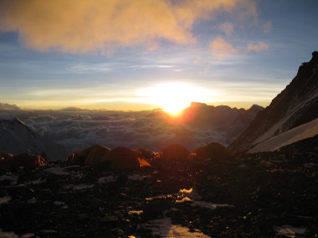 The South Col at sunset with Cho Oyu in the distance - evening of 20 May