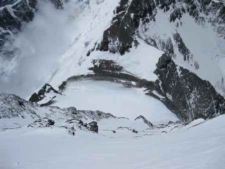 A view of the steep descent to the South Col from the Balcony - 21 May